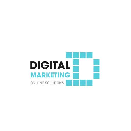 Ikona litery D dla marketingu cyfrowego lub promocji biznesu w sieci społecznościowej. Wektor cyfrowy symbol litery D dla rozwiązań internetowych on-line, badań rynku i korporacji przemysłowych