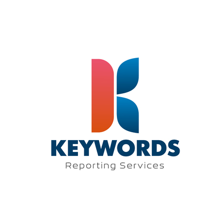 Letter K icon for keywords reporting services or digital marketing analysis and promotion agency, Vector letter K symbol for advertising agency, internet analytics or social network marketing research