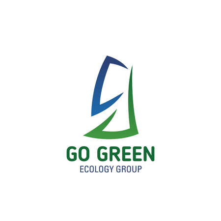 Letter G icon for nature and ecology group or go green environment project design. Vector green tree and blue sky symbol in letter G for clean earth eco concept and environmental recycling