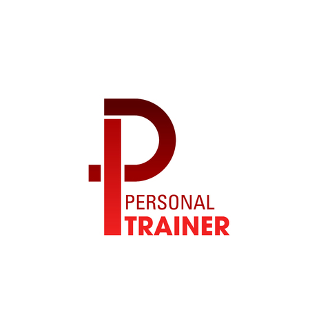Personal trainer creative emblem. Fitness trainer in gym concept. Sport and healthy lifestyle concept. Vector sign for physical training team or personal bodybuilding trainer