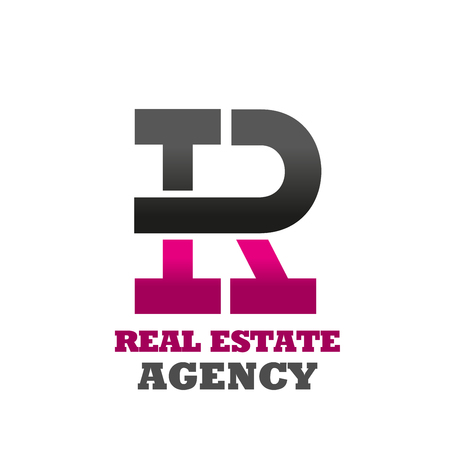 Letter R icon for real estate agency or house construction and office industrial building corporation. Vector geometric letter R for innovation technology in construction industry