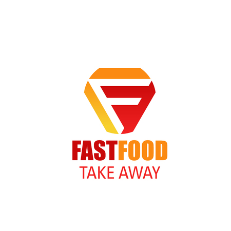 Letter F icon for fast food restaurant takeaway or fastfood cafe delivery menu design. Vector geometric symbol of letter F for street food vendors and snacks or beverage drinks bistro design