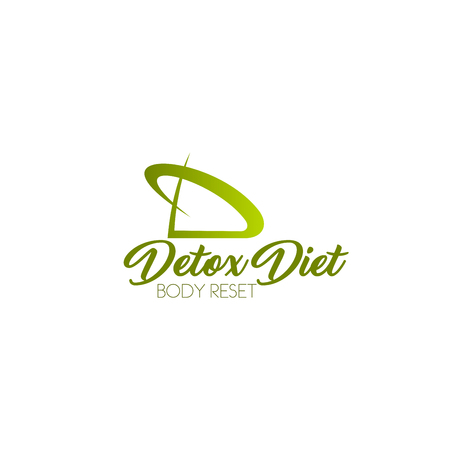 Vector sign concept of detox diet and body reset. Vector icon for body care program isolated on a white background. Badge in green color for diet menu or natural products or fitness club