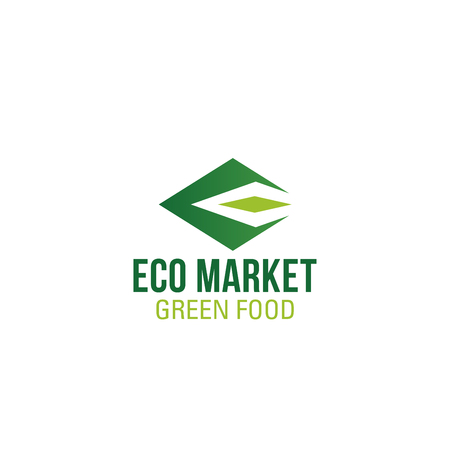 Letter E icon for eco market or green organic food store. Vector green geometric symbol of letter E for natural vegetarian store or vegan grocery and veggie restaurant design