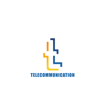Letter T icon for telecommunication or mobile provider company corporate identity. Vector innovation technology symbol of letter T for telecom internet and mobile communication corporation Vectores