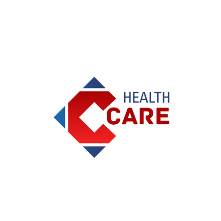 Letter C icon for healthcare medical center or pharmaceutical medicine design. Vector red letter C for hospital or doctor clinic brand sign and pharmacy company corporate design