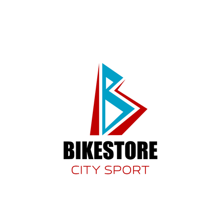 Bike store city sport vector icon isolated on a white background. Badge for bicycle sport market. Concept of transportation and bike like a hobby or professional sport Çizim