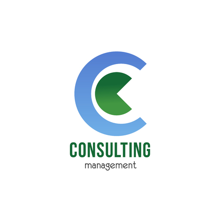 Consulting management vector icon isolated on a white background. Abstract badge for business project or business consulting company. Concept of information and solutions for business success Illusztráció