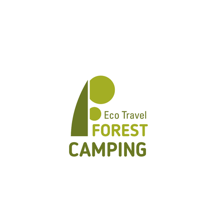 Letter F icon for forest camping or eco travel tourism and adventure team mountaineering activity. Vector park tree symbol of letter F for tourist hiking or ecology camp club