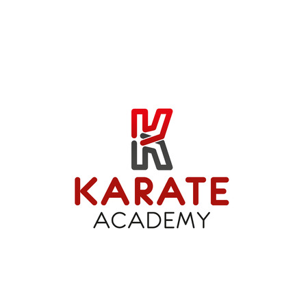 Letter K icon for karate academy of Asian martial combat school and sport team badge. Vector isolated letter K symbol for workout gym or sport fitness club and Japanese karate fighting training center Illustration