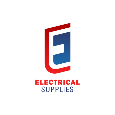 Letter E icon for electrical supplies shop or electricity and power construction company. Vector energy symbol of letter E for lighting equipment service store or repair solutions corporation