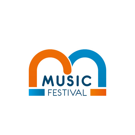 Letter M icon for music festival or entertainment and event agency for party celebration organization. Vector isolated M letter for music school or singing education and recording production
