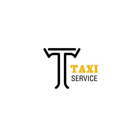 Buchstabe T-Symbol für Taxiunternehmen in gelben und schwarzen Farben. Vektor isoliertes Buchstabe T-Symbol für Transportagentur oder mobilen Taxitransport oder Carsharing- und Fahrgemeinschaftsanwendung