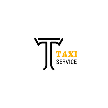 Letter T icon for Taxi service company in yellow and black colors. Vector isolated letter T symbol for transportation agency or mobile taxi transport or carsharing and carpool application