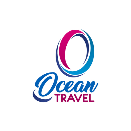 Letter O icon for ocean travel company or tourism adventure club and tourist journey agency. Vector isolated letter A of water wave symbol for marine cruise adventure team or travel trip club