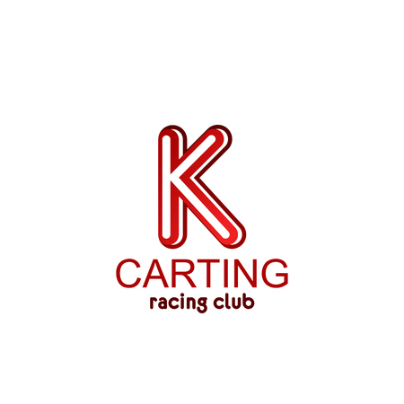 Letter K icon for carting racing club or sport cars team flag. Vector letter K symbol for entertainment games and car or bike races adventure and leisure training center