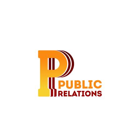 Icône de vecteur de relations publiques isolé sur fond blanc. Badge créatif pour agence de publicité ou entreprise de relations publiques professionnelle. Concept de public cible et stratégie marketing
