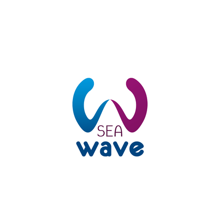 Letter W icon for surfing sport club or swimmers team badge and travel agency. Vector isolated letter W in wave symbol for yachting or sea resort and adventure trip design
