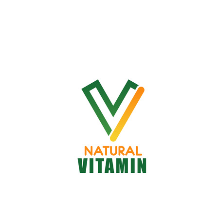 Letter V icon for natural vitamin brand or dietary nutrition supplement and food or drink production company. Vector green eco symbol of letter V for vegetarian restaurant or vegan cafe design