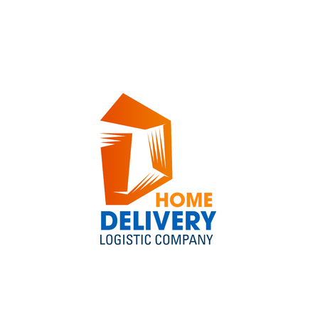 Letter D icon for home delivery and logistics company. Vector geometric square symbol of letter D for commercial transportation and freight cargo delivery corporate identity design
