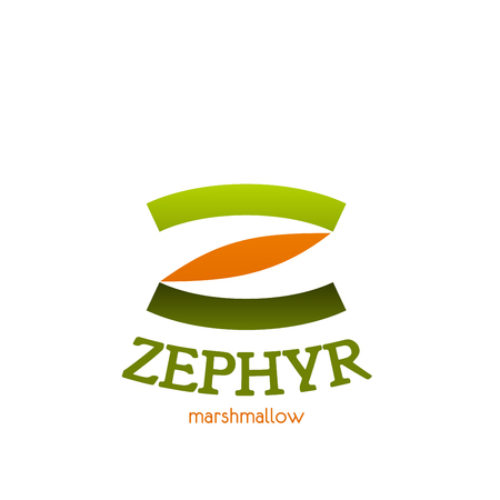 Letter Z icon for zephyr marshmallow sweets or candy package design. Vector line symbol of letter Z for dessert shop or pastry and cafeteria or patisserie store, bakery or premium cafe and coffeeshop Çizim