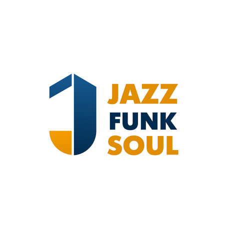 Letter J icon for jazz, funk or soul music school or musical instruments store. Vector isolated J letter for music and singing education classes or recording and music production company 일러스트