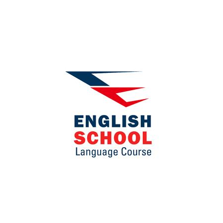Icono de la letra E para la escuela de inglés o la universidad de estudio de idiomas extranjeros. Vector símbolo de color de la bandera británica de la letra E para cursos de educación premium y diseño universitario internacional