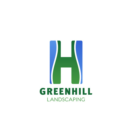 Landscape design company letter H icon for landscaping and green gardening designing. Vector isolated H letter for parkland garden or park trees symbol for outdoor urban horticulture company 일러스트
