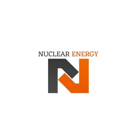 Nuclear energy vector sign isolated on a white background. Concept of chemical reaction and power. Nuclear hazard concept, abstract badge for science company or research organization