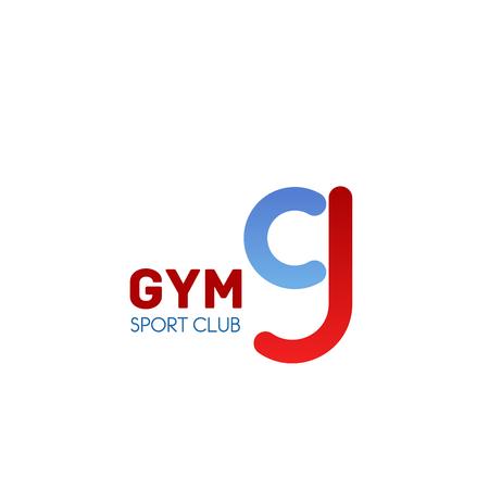 Emblema de gimnasio para el diseño de la marca del club deportivo. Fuente abstracta roja y azul de la letra g, alfabeto de identidad corporativa para letrero de club deportivo de fitness y levantamiento de pesas o diseño de tarjeta de visita Ilustración de vector