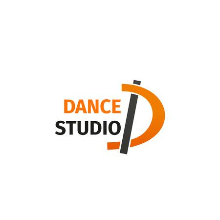 Icono de letra D para estudio de danza o clases de baile en barra. Símbolo de línea vectorial de la letra D para club de ejercicios deportivos y fitness, gimnasio de entrenamiento o diseño de marca de ropa deportiva de entrenamiento