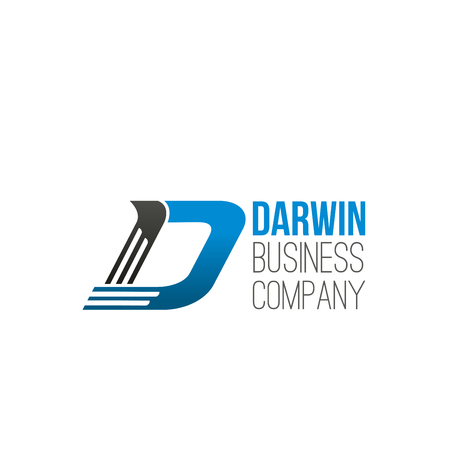 Letter D icon for business company or commerce and banking industry design. Vector abstract Darwin symbol of letter D for investment marketing, development corporation and consulting agency