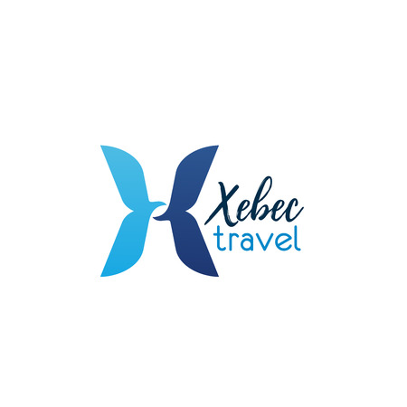 Xebec travel isolated letter X icon for travel agency or tourist company. Vector design letter X symbol for international travel journey and world tourism business or trip service Illustration