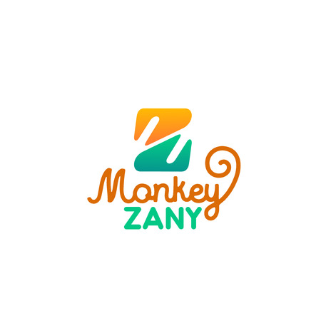Monkey zany letter Z icon for zoo or zoological park and pet store. Vector isolated letter Z symbol for animal veterinary clinic or zoology petting zoo and domestic pets zoological shop Illustration