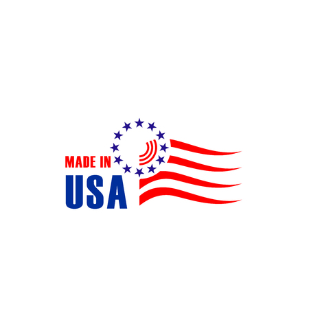 Minimalistic badge Made in USA isolated on a white background. Creative vector icon in colors of United States flag. Emblem in red and blue colors for branding national USA business