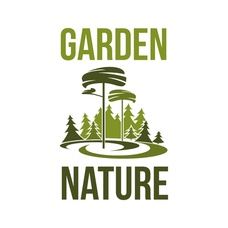 Garden nature green trees forest or park icon for environment ecology. Vector isolated symbol of parkland or woodland green trees for environmental horticulture eco project