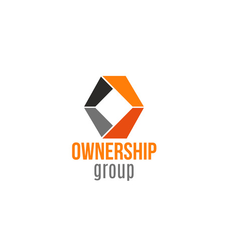 Ownership group vector icon isolated on a white background. Concept of teamwork or partnership between group of companies. Creative badge for business with several owners, holding
