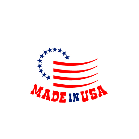 Made in USA sign with stars. American national symbol in red and blue colors. Badge for products manufactured in USA. United States of America vector emblem isolated on white background