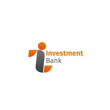 Investment bank vector sign isolated on a white background. Creative badge for branding of financial and investment organization in orange and gray colors. Concept of finance market and money