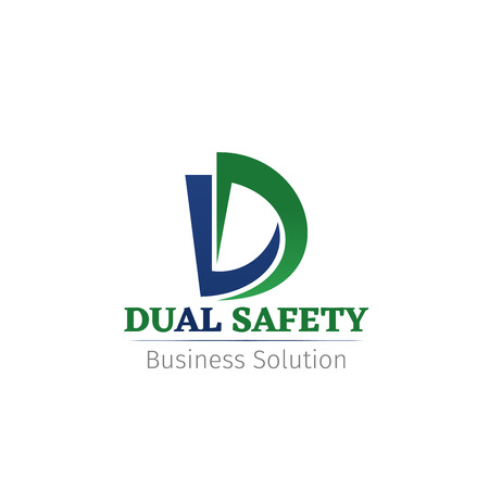 Vector icon for company Dual safety. Creative vector badge business solution concept. Business success service abstract sign. Emblem for consulting agency or business analytics company