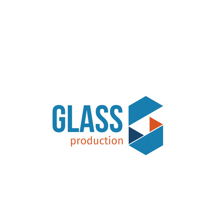 Glass production vector emblem. Vector badge for industry of glass. Abstract vector sign in blue and orange colors. Abstract sign isolated on white background. Badge suitable for plant of glass