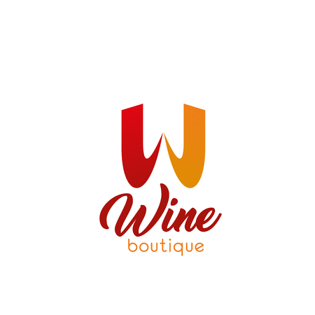 W letter icon for wine boutique. Vector letter W template for wine and alcohol drinks store or wine testing shop or winemaking product industry in modern trendy soft line colors 向量圖像