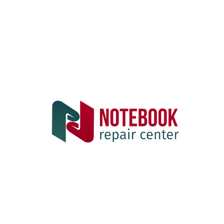Notebook repair center vector icon isolated on a white background. Creative badge for service of repair computers and laptops. Professional fix technique or technical support concept