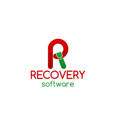 Vector sign for recovery software company. Concept of professional hard drive data recovery and recovery the damaged database. Data recovery icon isolated on white background Illustration