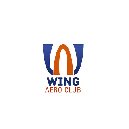 Aero club letter W icon of airplane or aircraft customs company or pilot team. Vector isolated wings symbol of letter W for aviation and air adventure travel or pilots extreme journey  イラスト・ベクター素材