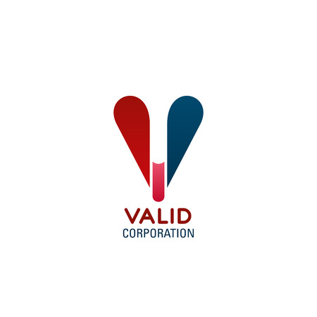 Valid corporation vector icon. Red and blue colors creative sign for any business company. Concept of success and positive. Symbol for corporate company, design badge isolated on white background