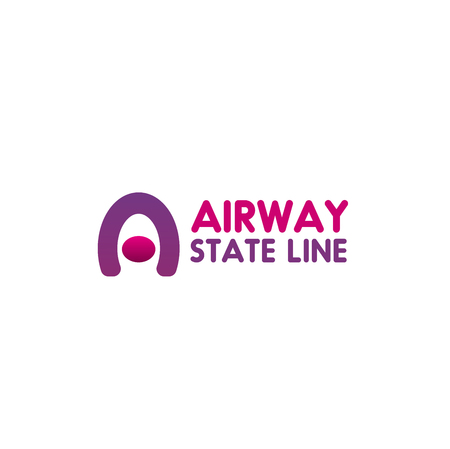 Airway state line vector icon in pink and magenta colors, isolated on white background. Passenger airplane sign for airport or travel agency, concept of airline company and traveling