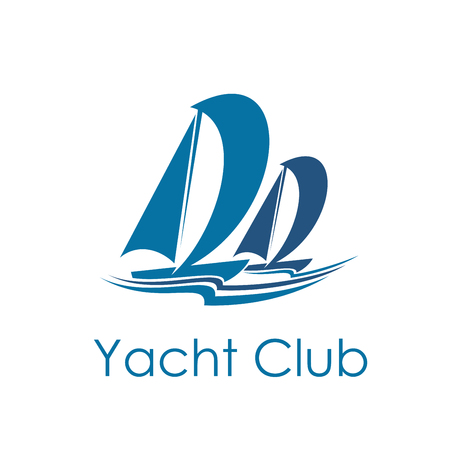 Yacht club icon with blue sailboat. Sailing sport ship and boat under full sail isolated symbol with sea wave. Marine transport or water vessel for sailing race or regatta design