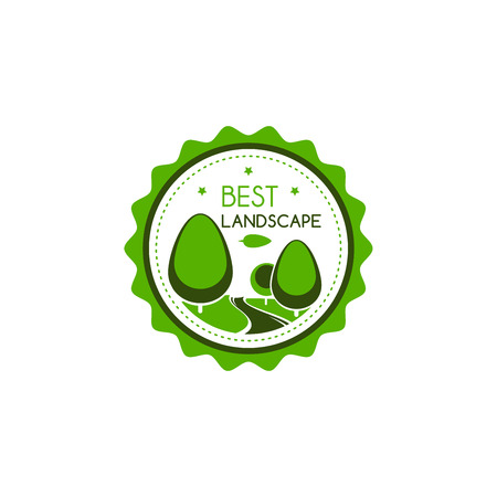 Best landscape award or quality badge for green nature landscaping design company. Vector star certificate icon of green trees at parkland for green home landscape or horticulture eco project Ilustracja