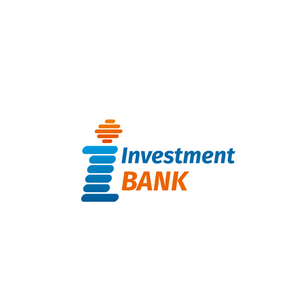 Investment bank vector icon isolated on a white background. Creative badge for financial organization branding in orange and blue colors. Concept of finance and money, emblem for financial business